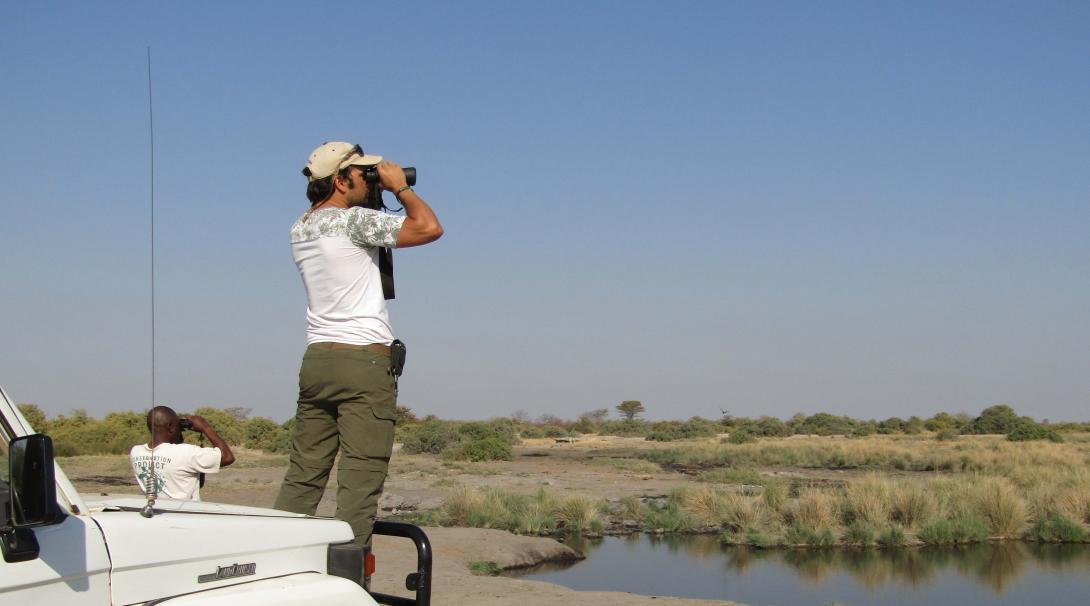 Voluntarios monitoreando animales salvajes en Botsuana.